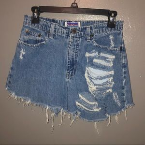 Vintage North Crest Ripped Jean Shorts
